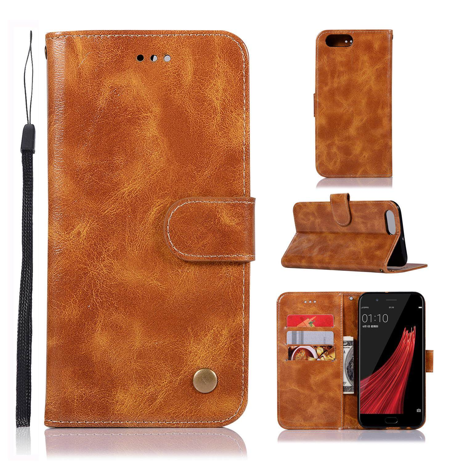 Casing For Oppo R11,reto Leather Wallet Case Magnetic Double Card Holder Flip Cover By Life Goes On.