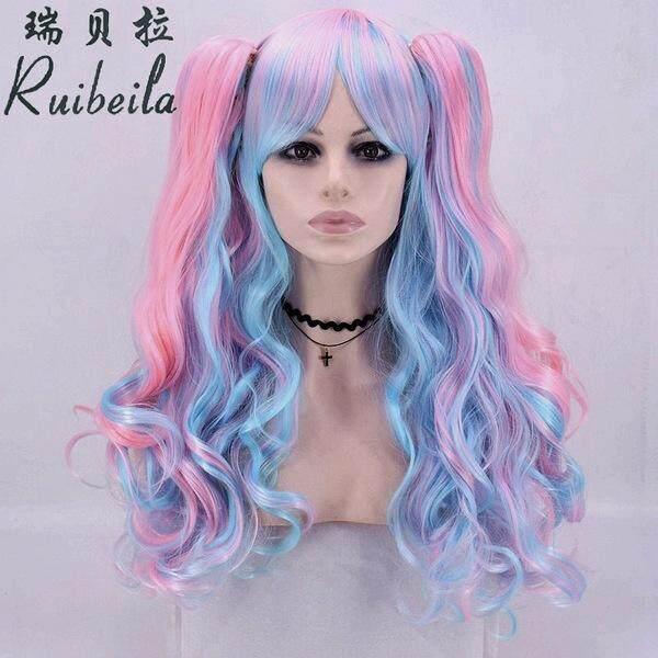 Xiangsen wig Harajuku gradien memilih rambut keriting panjang COS anime wig klip cakar ganda