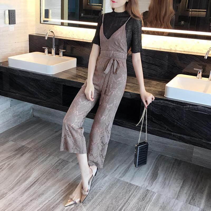 Detail Gambar Jumpsuit Korea Fashion Style Baru Tank Top Celana Semata Kaki RESTONIC Terbaru
