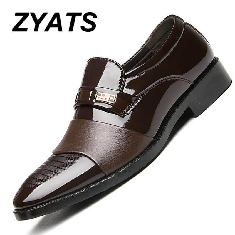 Zyats Pria Sepatu Kulit Bernapas Sepatu Formal Sepatu Santai Acara Formal  Gaun Oxford Pesta Sepatu Pantofel 4a4d08df0f