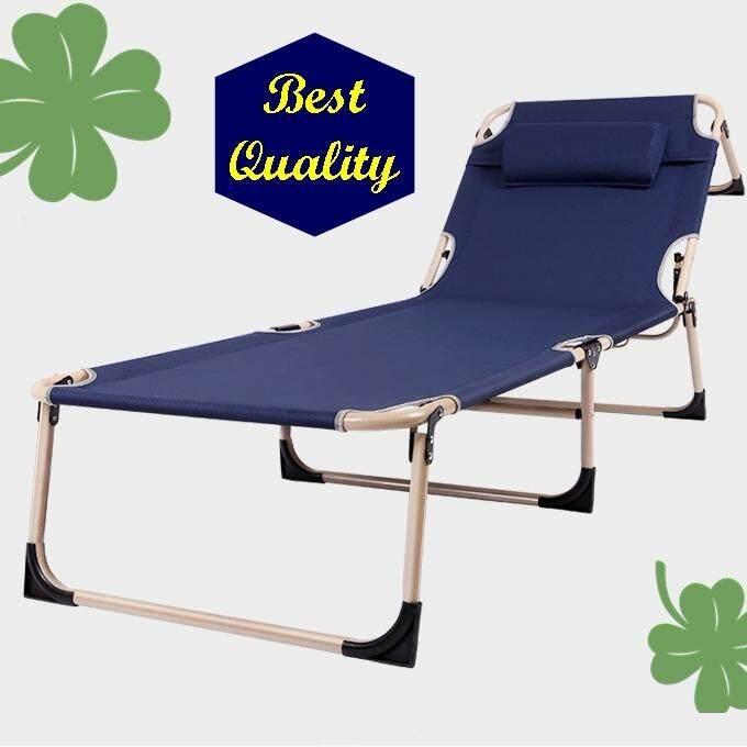 เก้าอี้สนาม เก้าอี้พับนอน เตียงนอนพับได้ 180 องศา รุ่น 180 Sleep Bed สีน้ำเงิน พร้อมแถมฟรี หมอนรองคอแบบเป่าลม มูลค่า 199 บาท .
