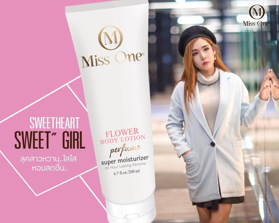 Miss One Sweetheart กลิ่นหอมนุ่มลึก ให้ความรู้สึกสดชื่น ทรงพลัง นุ่มนวลแต่หนักแน่น Miss One โลชั่นน้ำหอม 1 ชิ้น 200 Ml.