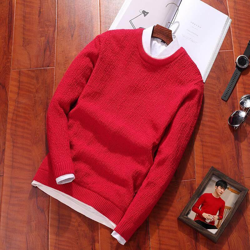 Sweater merah Pakaian Musim Semi dan Musim Gugur Jaring Kemeja rajut casual Warna Polos