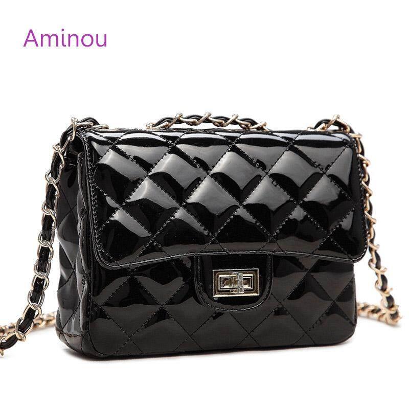 Aminou Rantai Perempuan Tas Bahu Mewah Desainer Kulit Paten Wanita Kecil Tas Messenger Kualitas Tinggi Bolsa