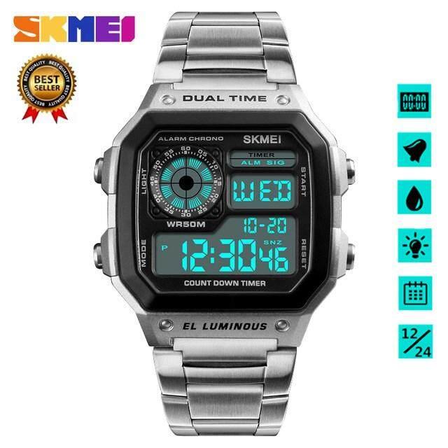 นาฬิกาข้อมือ Skmei ของผู้ชายแท้ 100% นาฬิกาดิจิตอลนาฬิกานับถอยหลังนาฬิกากันน้ำนาฬิกาสแตนเลสนาฬิกาดิจิตอลนาฬิกาผู้ชายนาฬิกา Relo.