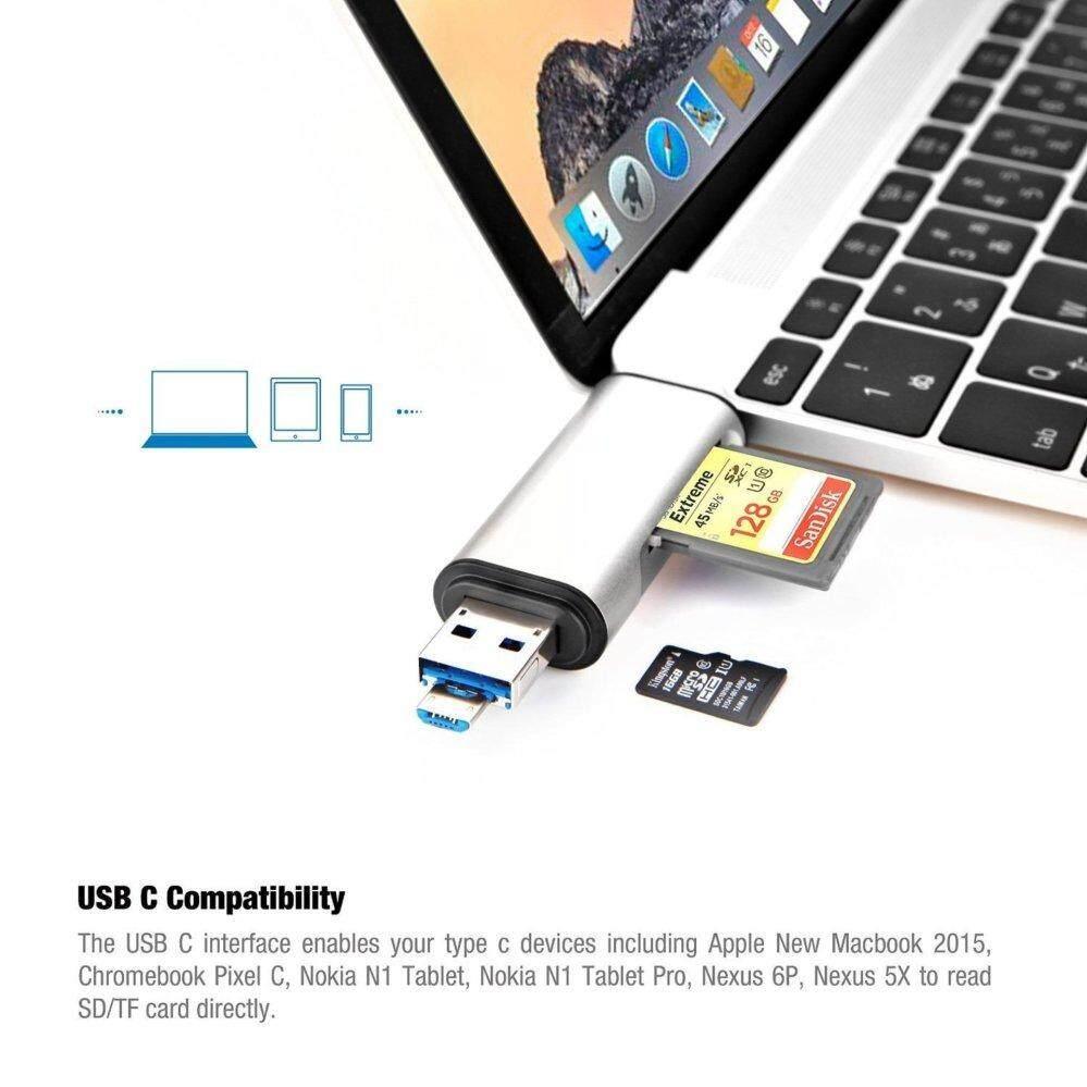 Seenda 3 In1 Otg Type C Card Reader Usb 30 Cardreader A Micro Combo To 2 Slot Tf Sd