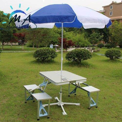 Masaaki Led ชุดโต๊ะปิคนิคพับได้ โต๊ะพับอเนกประสงค์ พร้อมเก้าอี้ 4 ที่นั้ง รุ่น L 14 (สีเทา ) By Masaaki Lighting.