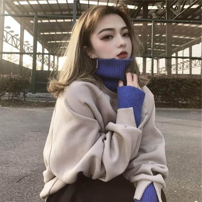 In super api Jaket wanita tambah beludru lebih tebal Kaos Sweater Gaya Barat Atasan musim gugur