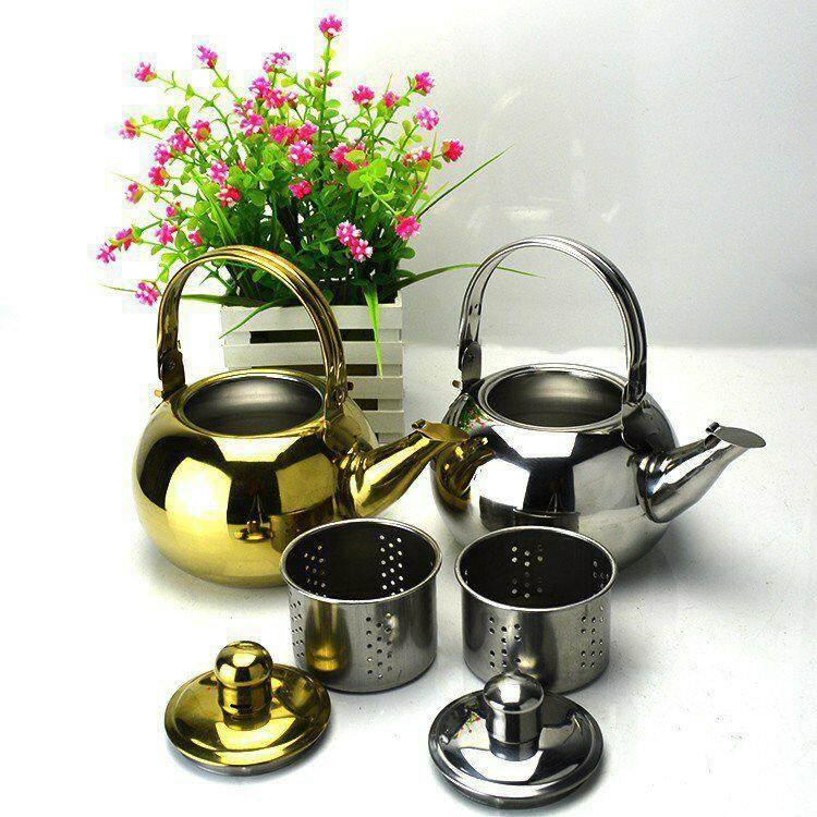 กาน้ำร้อน กาต้มน้ำร้อนแบบพกพา กาต้มชาสแตนเลสพร้อมฝากรอง.