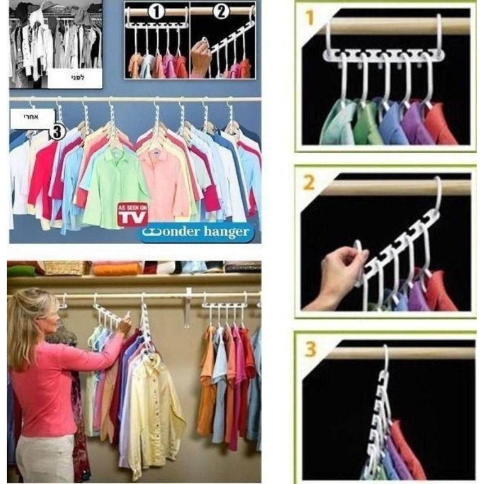 ไม้แขวนเสื้อ ไม้แขวนเสื้อจัดระเบียบ ราวแขวน จัดระเบียบ แพ็ค 8 ชิ้น.