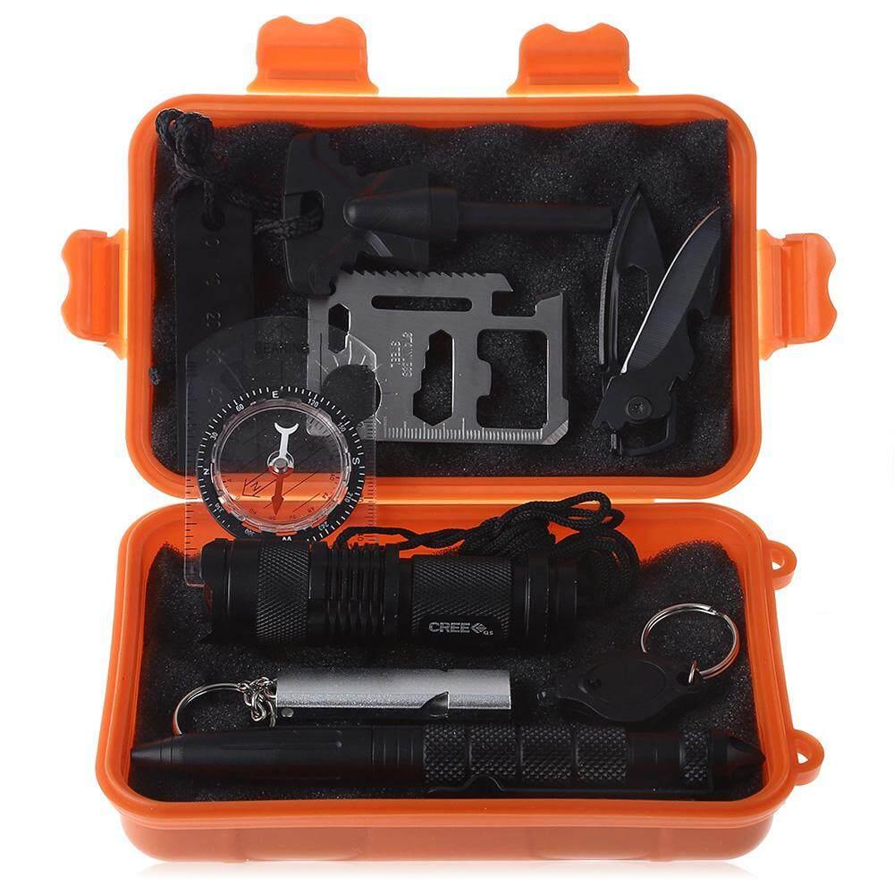 Bút chiến thuật/Flintstone/Đèn Pin Mini/Sáng//Móc Khóa Huýt Sáo/La Bàn/Đa sử dụng Thẻ Dụng Cụ Sinh Tồn Bộ Màu Cam Tươi Sáng