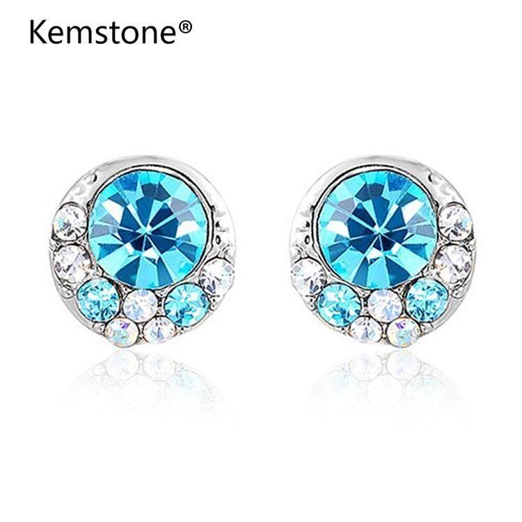 Stainless Steel Fashion biru berlian imitasi kristal cincin untukpria dan wanita, warna Silver - 5