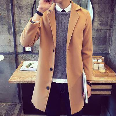 f39984ae034ed Trench Coat man Mid-length Korean Style Slim Fit Woolen Jacket Youth Trend 2019  New