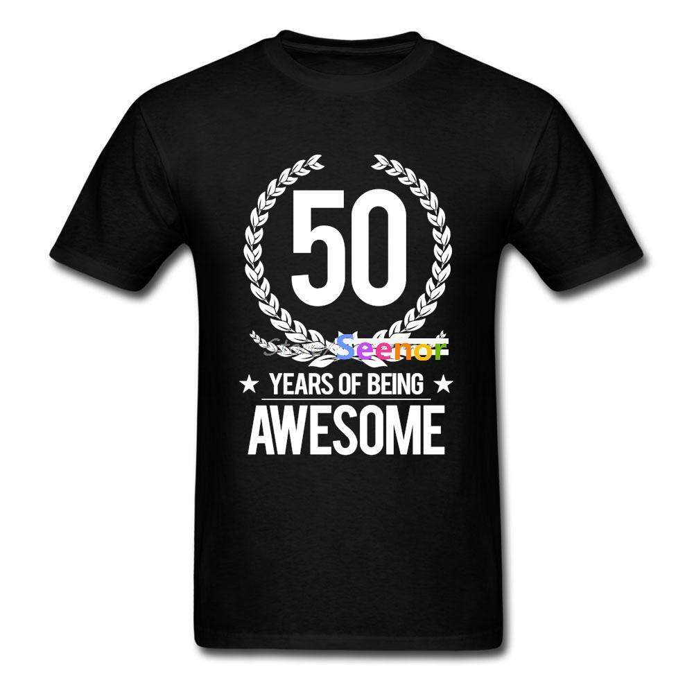 50th Birthday 50 Years Of Being Awesome T Shirt Cotton Custom Fashion Tshirt Men Popular Group