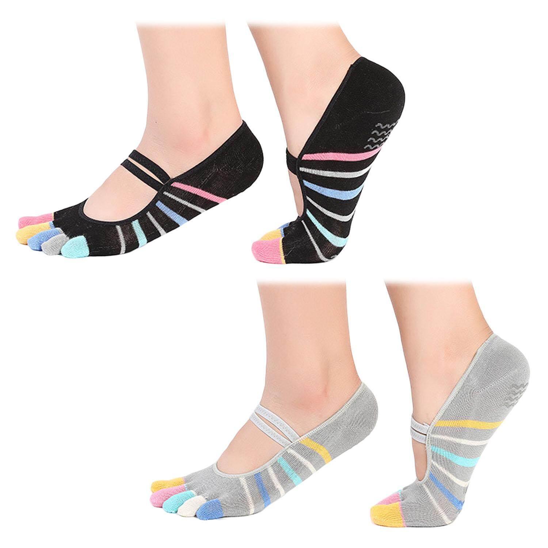 53b9fba2e36 2 Pairs Women Ladies Yoga Pilates Socks 5 Toes Low Cut Non Slip Grip Socks  for