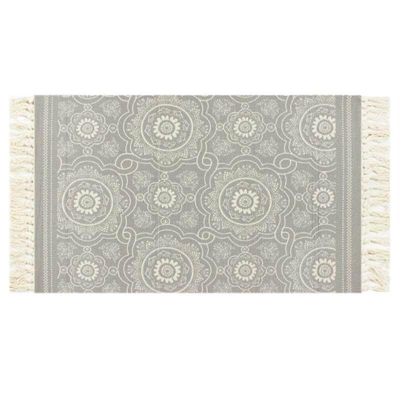 Yan Value Mat Cotton Thread Printed Mat Rug Northern Europe Mat Anti-slip Mat Tassels Mat Door Mat Bedside Blanket