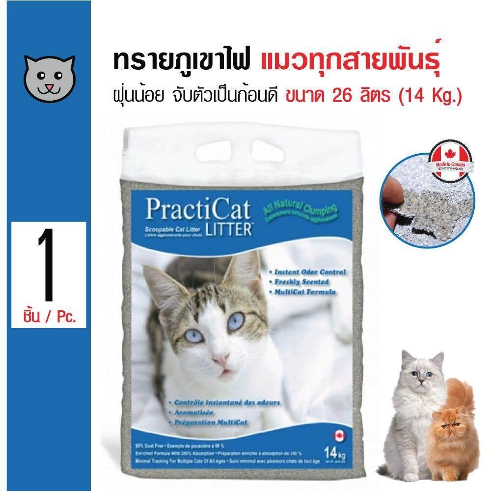 Practi Cat ทรายแมวภูเขาไฟ ฝุ่นน้อย จับตัวเป็นก้อนดี สำหรับแมวทุกสายพันธุ์ น้ำหนัก 14 กิโลกรัม (26 ลิตร)