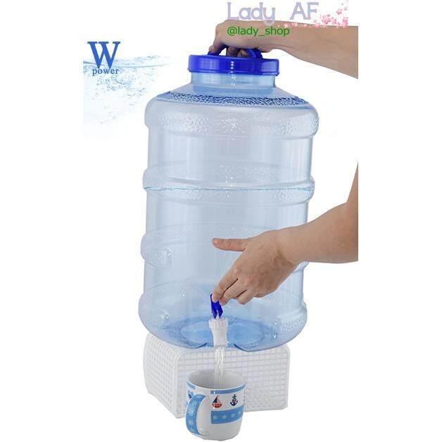 Wpower ถังน้ำดื่ม ขนาด 18.9 ลิตร กลมใส  พร้อม ก๊อก สีน้ำเงินใส