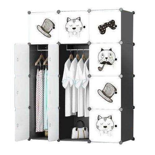 Diy Plus ตู้เสื้อผ้า ตู้เก็บของ ตู้อเนกประสงค์ ตู้เสื้อผ้าแบบพับเก็บได้ ขนาดใหญ่ ถอดประกอบได้ [12box - ลายแมว ขาวดำ].