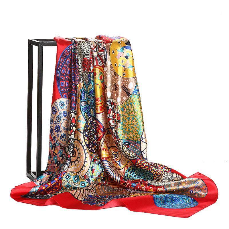 Eropa dan Amerika Fashion Geometris Pusaran Air Siput 90 * Square Ditiru Kain Sutra Satin Syal