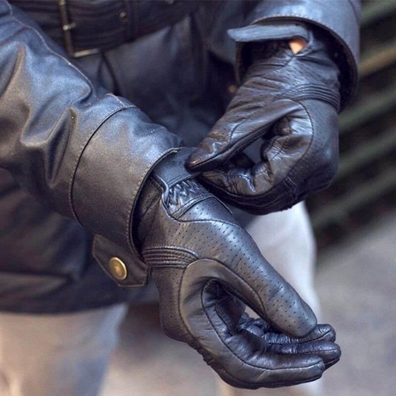 Revit Bernapas Sarung Tangan Bersepeda Motor Kulit Hitam Asli Pelindung Motocross Guantes Moto GP Off Road Sarung Tangan Pria & Wanita Musim Panas