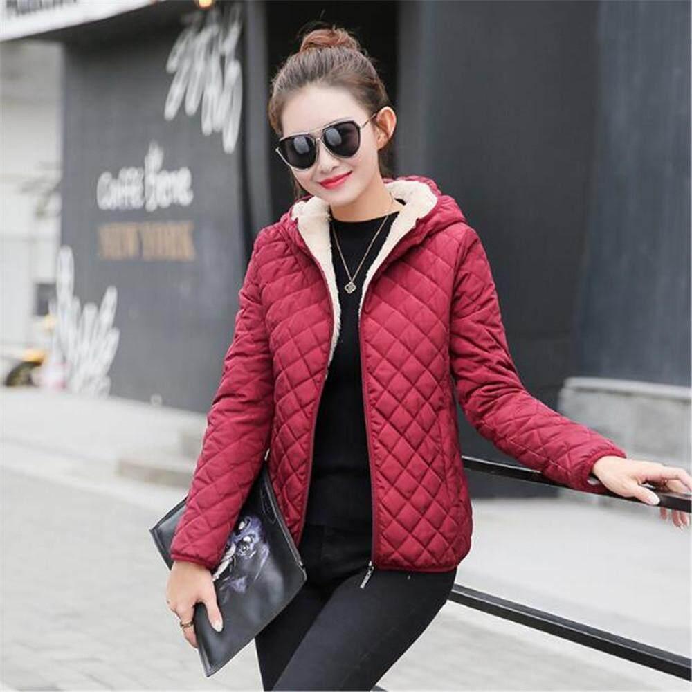 f09c3ba9963 women winter jacket hooded fleece solid coat 2017 Autumn spring thin  outerwear female short zipper student