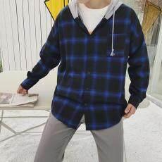 Tambah beludru Kotak-Kotak kemeja pria Lengan panjang Penghangat inch  Pakaian ukuran besar hoodie longgar bfe89ae64c