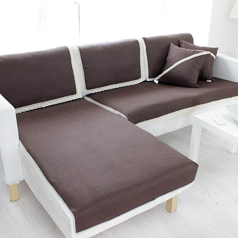 1 Piece Japan Style Chic Corner Sofa Cover Sofa Towel Cushion Cotton Linen Fabric Four Seasons Available Home Wedding Decoration