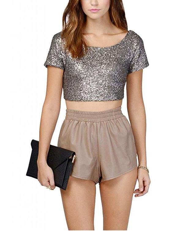 0d8d17851bf6eb Glitter Sequins Backless Crop Tops Candy Colors Short Sleeve