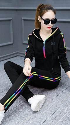 2019 busana Musim semi model baru pakaian kasual Olah Raga Set wanita ukuran besar baju wanita