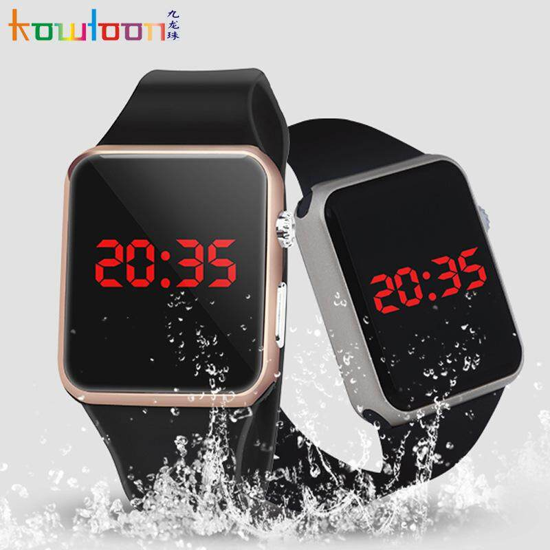 New Hot Square Mirror Face Silicone Band Digital Watch Red LED Watches Metal Frame WristWatch Sport Clock Hours Malaysia