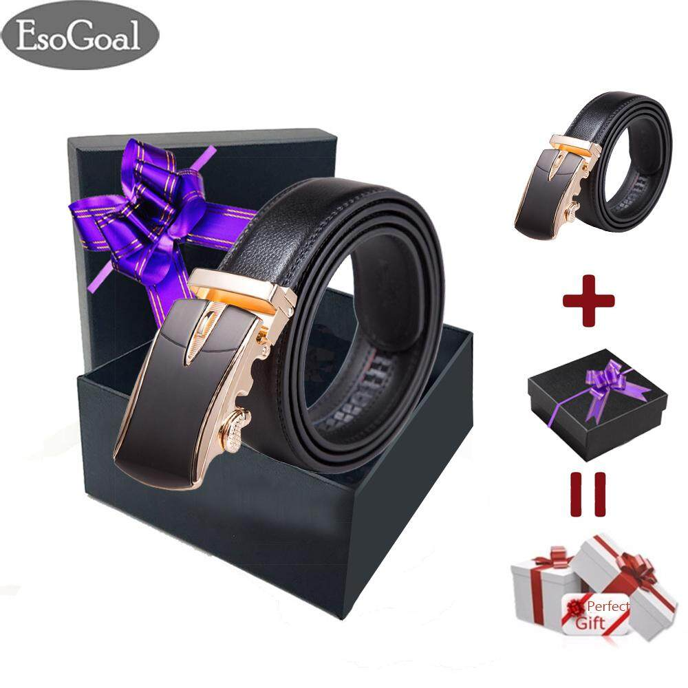 ขาย Esogoal Belts Mens Leather Ratchet Comfort Cilp Adjustable Automatic Sliding Buckle Belt For Valentine S Day Present Box Black Glod ผู้ค้าส่ง