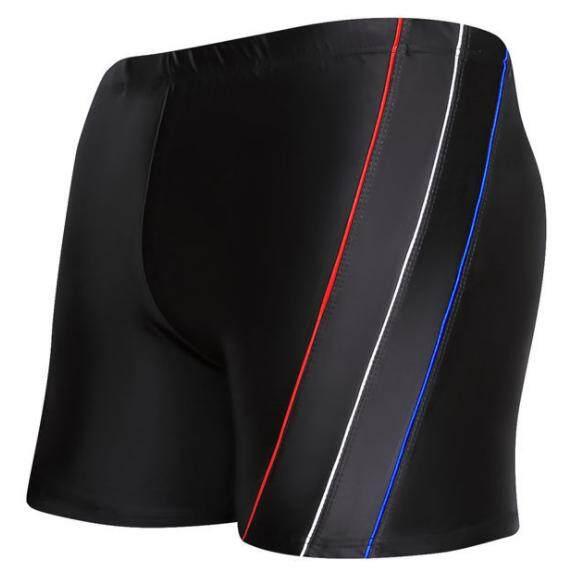 Style กางเกงว่ายน้ำ ขาสั้น ขอบยางกระชับสัดส่วน เชือกผูกกันหลุด แต่งแถบข้าง (สีดำ) รุ่น 09720.