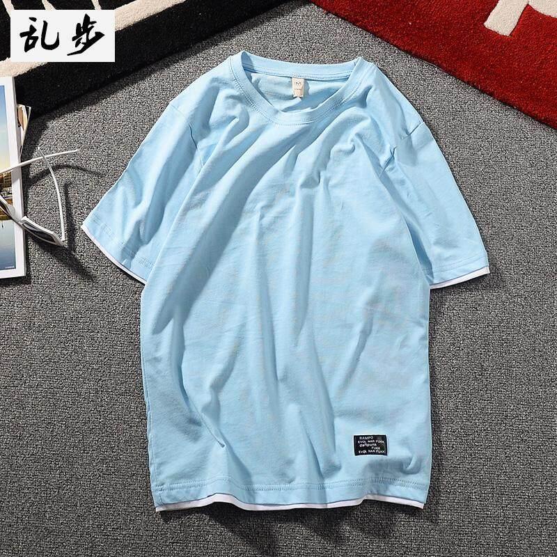 Tide Kapas Merek untuk Pria atau Wanita Palsu Dua Lengan Bang Pendek Kaus Bottoming Kemeja (