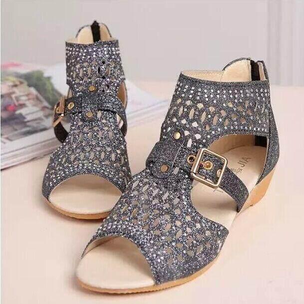 89074cabf30 2019 Summer New Style women Sandals Slanted Heel Korean Style Versatile  Rome Sandals women Shoes Man