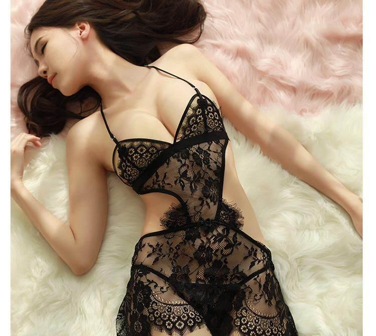 XI Women Sexy Lingerie Lace Maid Uniforms Halter Sling See-through  Temptation Dress + T 4b57322ea
