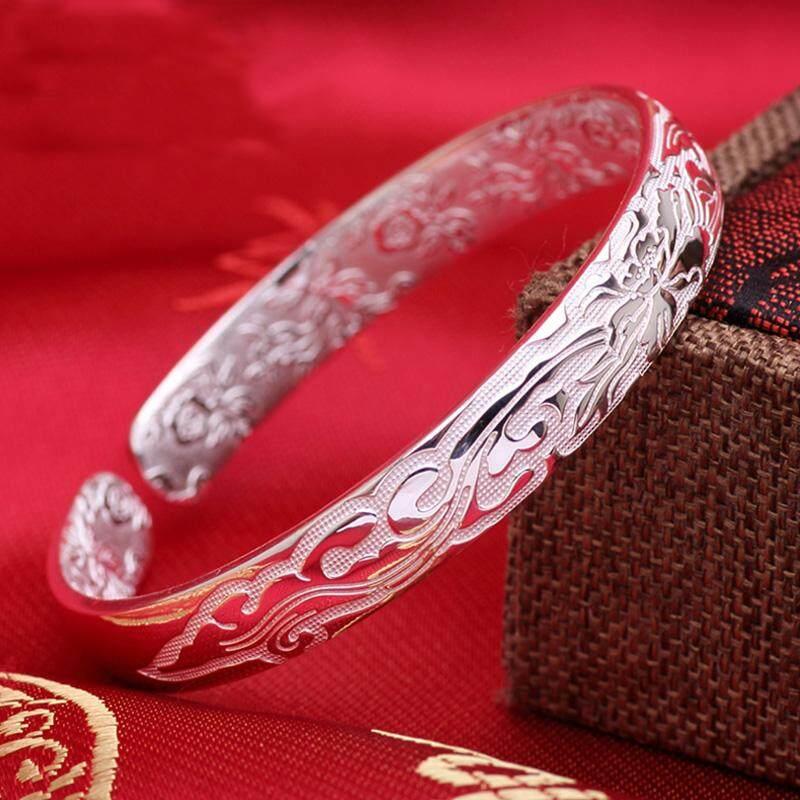 Shun Qing Gelang Lantai Perak Murni Produk Asli Bunga