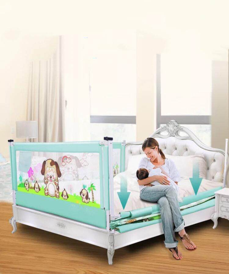 ที่กั้นเตียง  Yujunger  สูง90cmสีฟ้า สีชมพู 1.8m กับ 2m ป้องกันเด็กตกจากเตียง  .