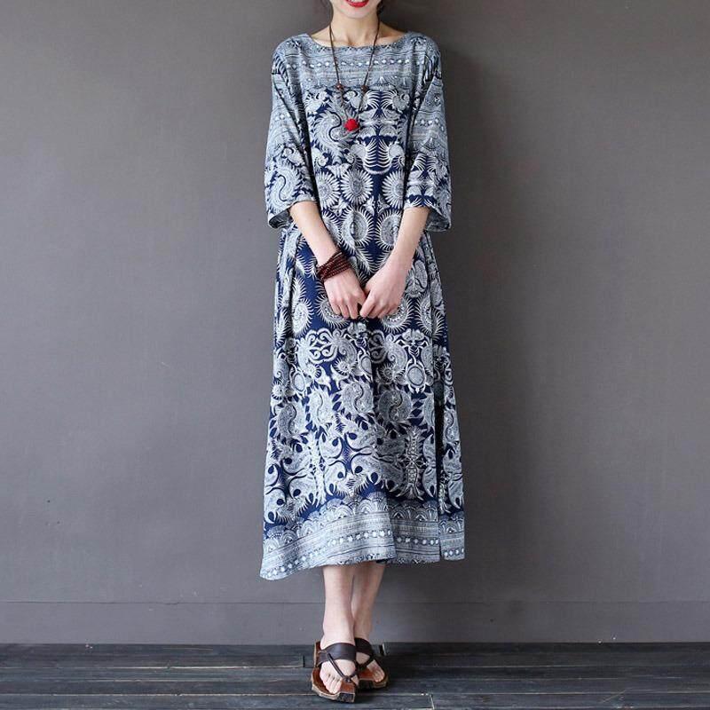ราคา Blusas 2018 Zanzea ผู้หญิงพิมพ์ลายดอกไม้เสื้อ Baggy เสื้อฤดูร้อนฤดูใบไม้ร่วงผู้หญิงคอยาวข้อเท้ายาว Vestido นานาชาติ Zanzea ออนไลน์