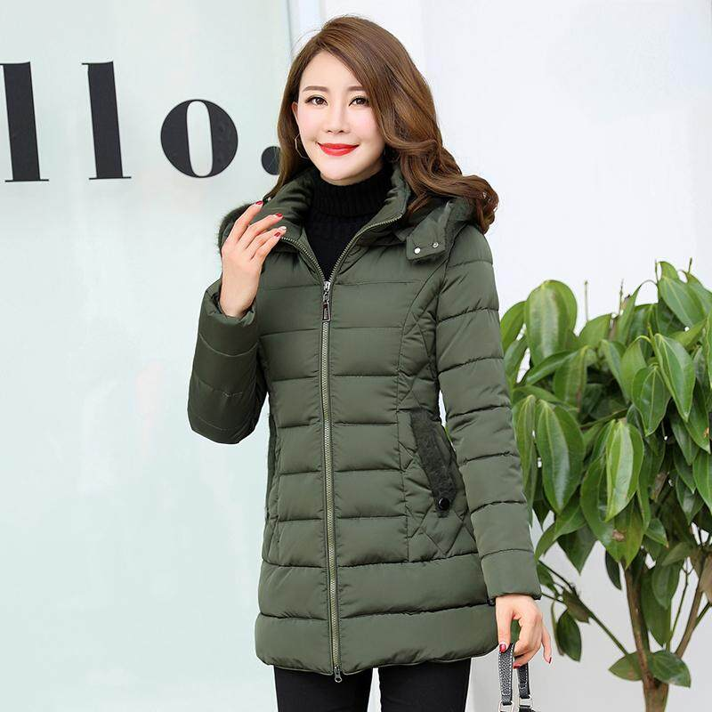 ad266136d 2019 New Style Cotton-padded Clothes Female Mid-length Winter Thick Coat  Cotton-padded Jacket Middle-aged Women Dress Large Size Thick down Jacket  ...