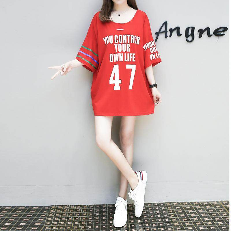 ZASHION Premium Oversized Korean Printed Tee Dress