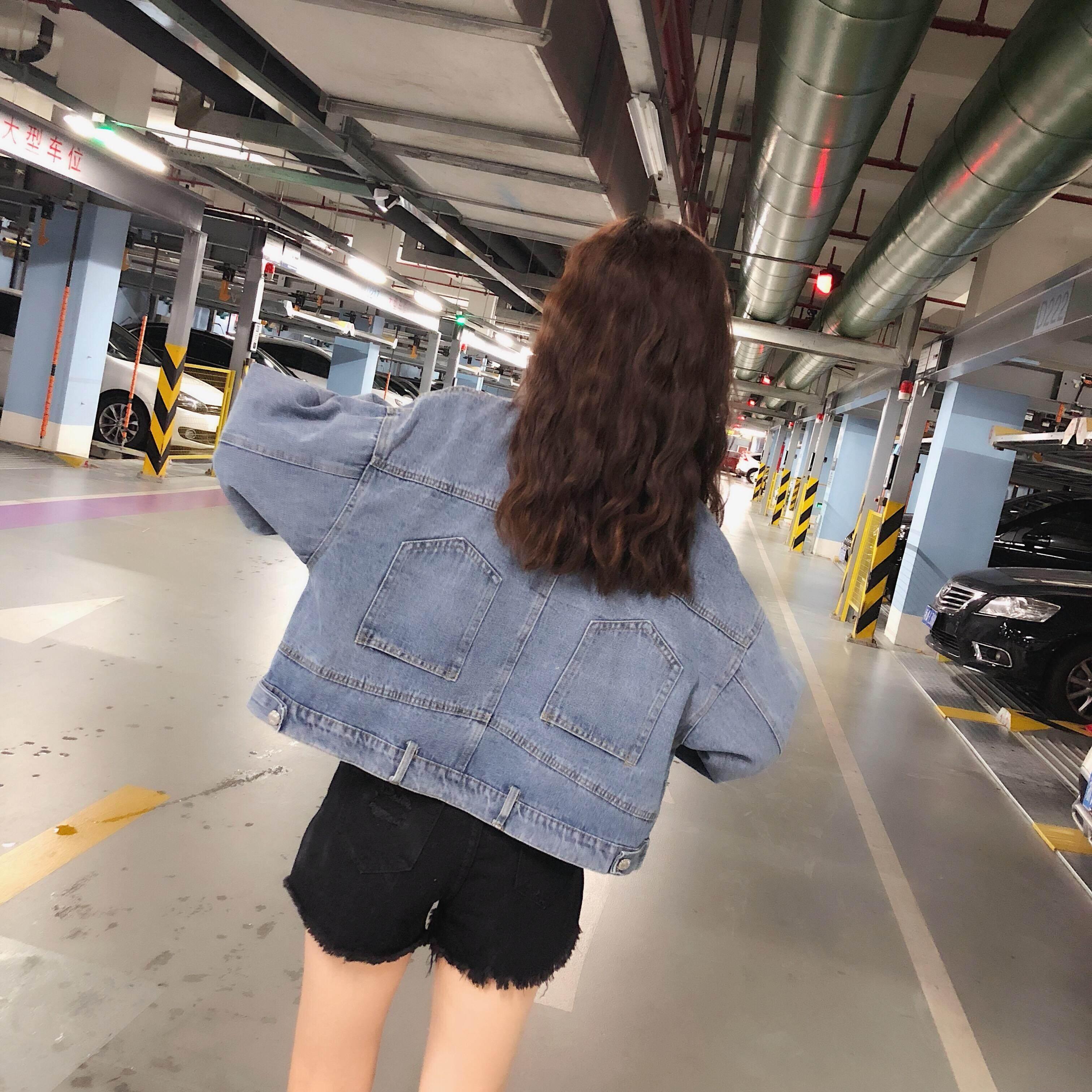 Musim Gugur Baju Wanita Versi Korea Retro Saku Lengan Panjang Kerah  Turndown Longgar Baju Denim Model 57fc9bfebb