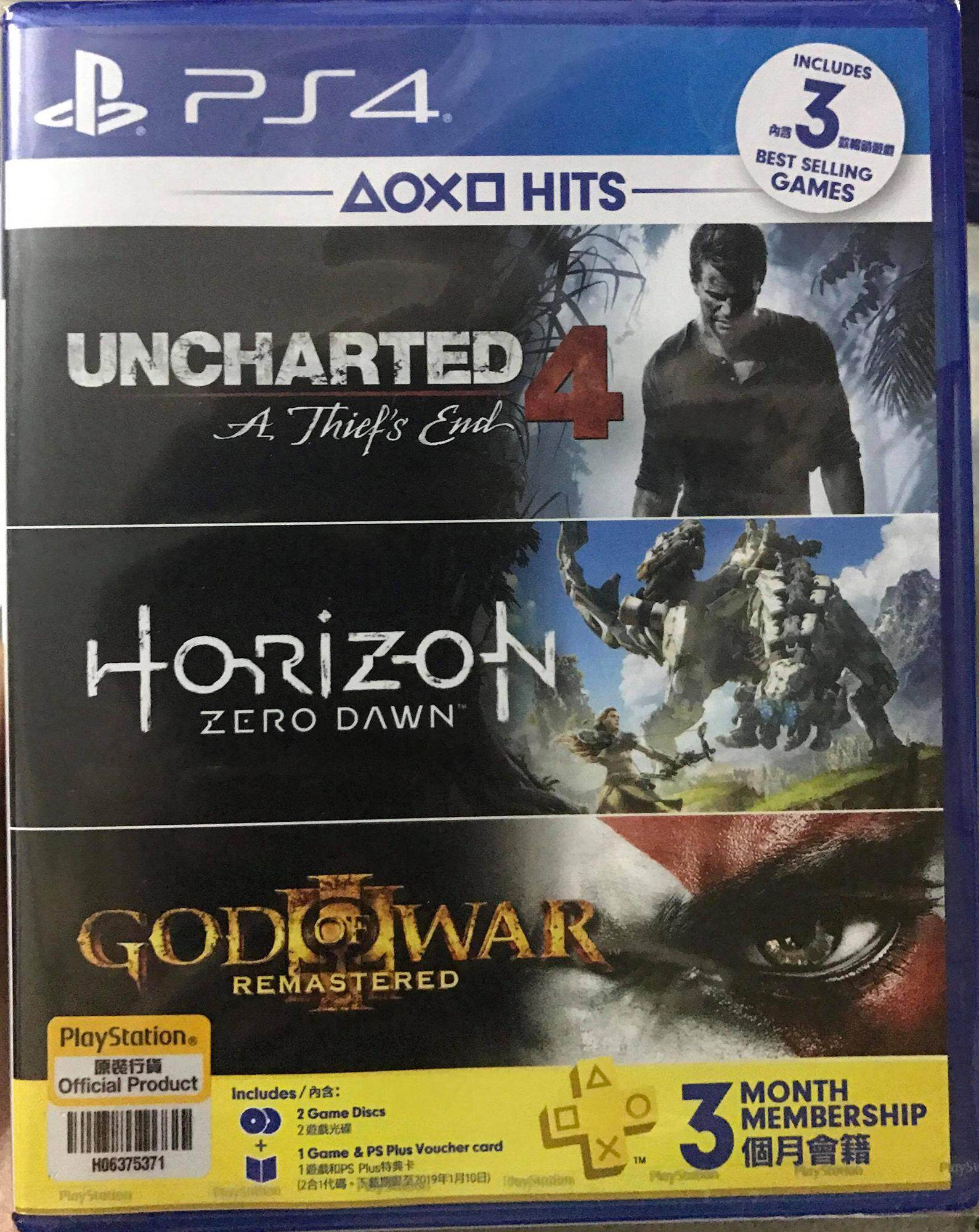 PS4 HIT UNCHARTED 4 TRIPLE PACK / HORIZON / GOD OF WAR III (ALL ZONE)