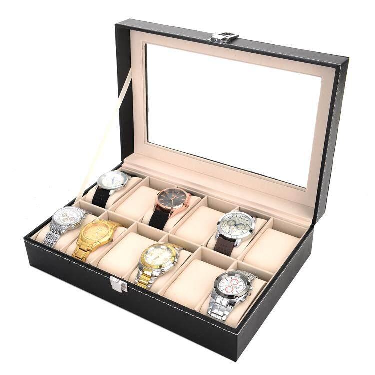 Aiehome กล่องนาฬิกาสีดำ ใส่ได้ 12 เรือน สีดำ.