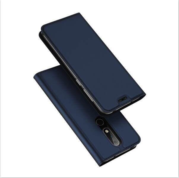 Nokia X6 2018 Case Mewah Pu Kulit Flip Case Slot Kartu Telepon Bergaya Bisnis Casing untuk Nokia X6 2018 Rumahan Telepon-Intl