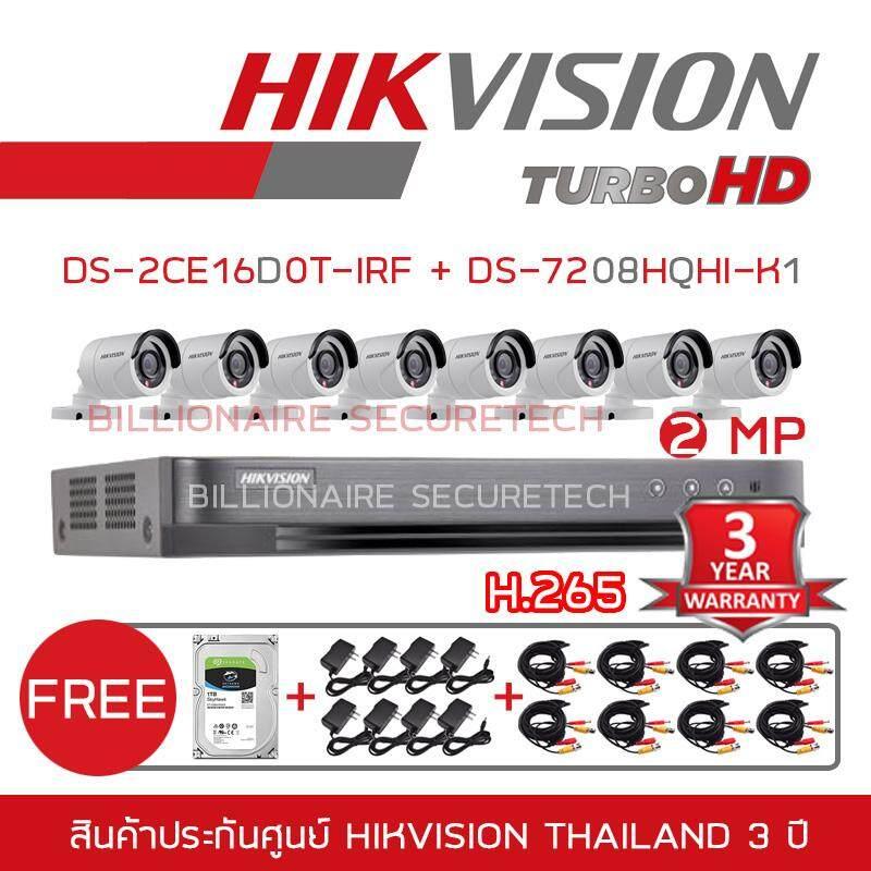 HIKVISION ชุดกล้องวงจรปิด 8 ช่อง 2MP DS-7208HQHI-K1 + DS-2CE16D0T-IRFx8 (3.6 mm) 'FREE' HARDDISK 1 TB, ADAPTORx8, สายกล้องวงจรปิดสำเร็จรูปยาว 20 เมตร จำนวน 8 เส้น