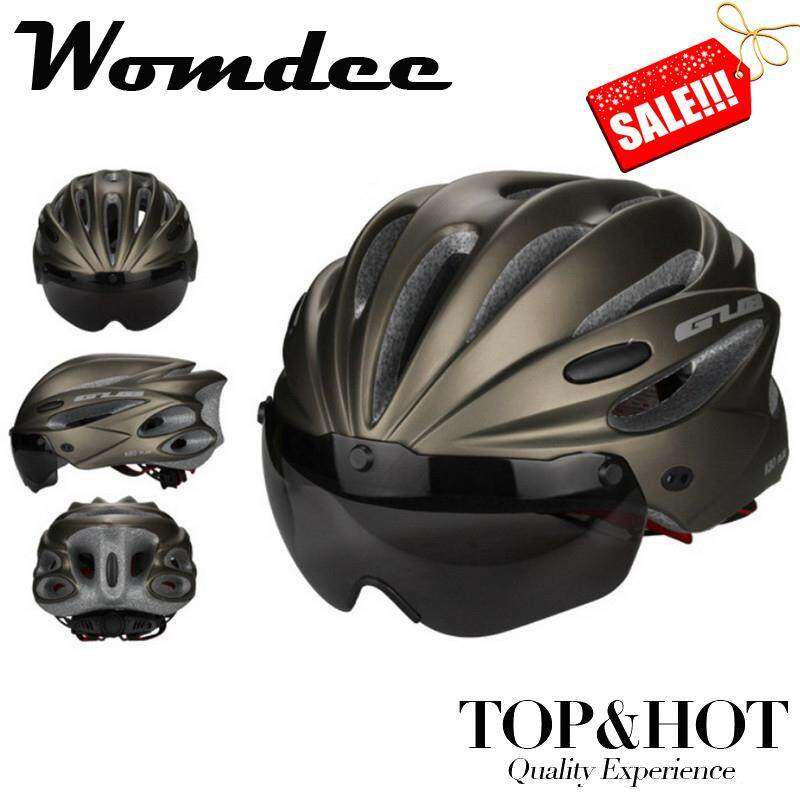 Womdee Bike Cycling Helmet With Detachable Magnetic Goggles Visor Shield Adjustable Men Women Road Mountain Biking Bicycle Helmet Safety Protection (black) - Intl.