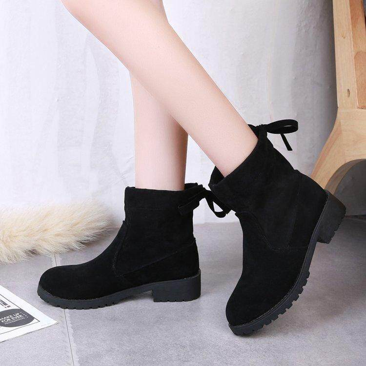 Martin Boots Female 2018 New Style Short Boots England Students Korean Style  Versatile Black Locomotive Over eb8e0f8ae6