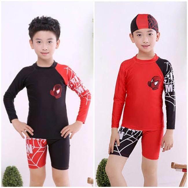 ชุดว่ายน้ำเด็ก เซ็ต 3 ชิ้น แขนยาว+กางเกงขาสั้น+หมวก Spider Man สีดำ และสีแดง ไซต์ M-4xl  1807.