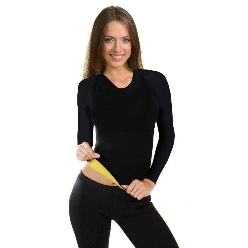 Purify เสื้อออกกำลังกาย เสื้อเรียกเหงื่อแขนยาว Neo Shapers Hot สีดำ.
